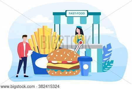 Inspector Assessing The Quality Of Fast Food At A Takeaway Outlet With Burger And Chips, Colored Vec