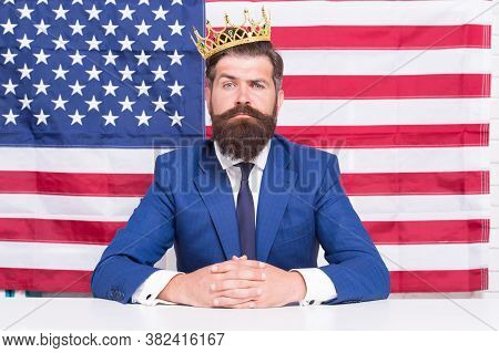 Reputable Businessman Handsome Man Sit Desk American Flag Background, American Dream Concept.