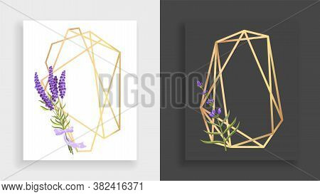 Geometric Frame Polyhedron. Abstract Gold Floral Frame With Leaves And Branch Of Lilac. Luxury Decor
