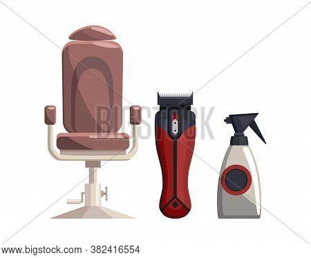 Barbershop Equipments. Vintage Barber Shop Set Items. Chair Trimmer Sprayer. Haircuts Salon Design E