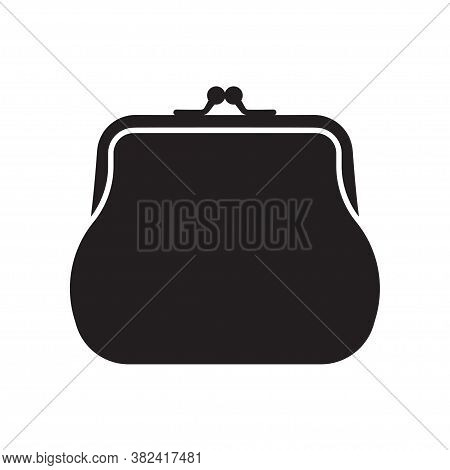 Retro Purse For Coins. Coin Wallet Icon. Vector Illustration, Isolated On White Background