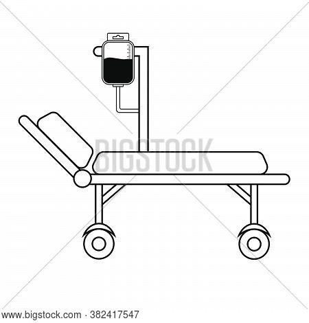 Hospital Bed With Medical Equipments, Intensive Care, Resuscitation. Medical Tool