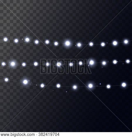 Christmas Bright White Garland On Transparent Background. Decor For Party, Festive Or Birthday Celeb
