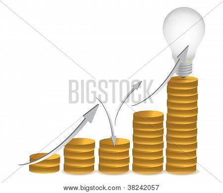 Coins And Lightbulb Illustration Design