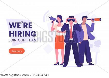 Were Hiring Banner Design. Office Workers Looking For A New Employee. Job Offer. Join Our Team Poste