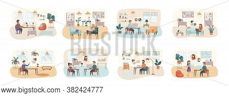 Video Conference Bundle Of Scenes With Flat People Characters. Online Talking, Teleconference, Video