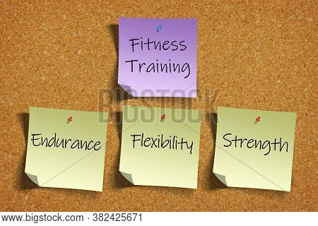 3d Rendering Of Fitness Training Goals Or Concepts Of Endurance, Flexibility, Strength On Color Stic