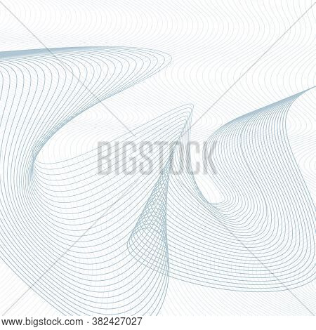 Undulating Thin Curves. Line Art Technology Pattern. Industrial Background. Abstract Vector Squiggle