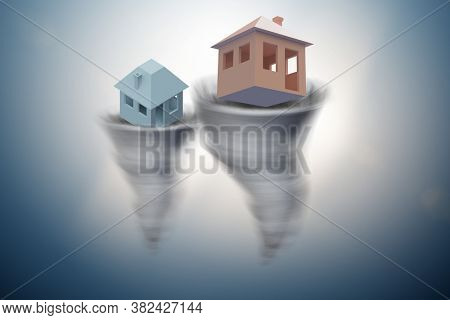 Foreclosure concept with house lost in tornado - 3d rendering