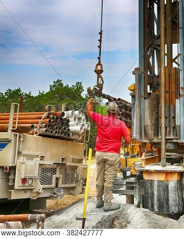 July 2, 2020. Burnet County, Texas. Drilling A Water Well On Country Land. Modern Rotary Drill Rigs