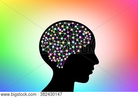 3d Digital Neuro Glowing Multicolored Colorful Particles Lines And Dots Plexus Structure Human Brain