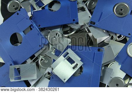 Old Blue Floppy Disks Destroyed For Recycling And Security