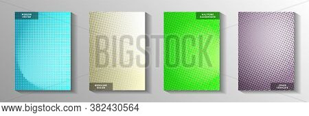 Grunge Dot Screen Tone Gradation Title Page Templates Vector Collection. Business Poster Faded Scree
