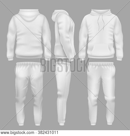 White Hooded Sweatshirt With Sports Trousers. Active Sport Wear Hoodie And Pants Vector Templates. S