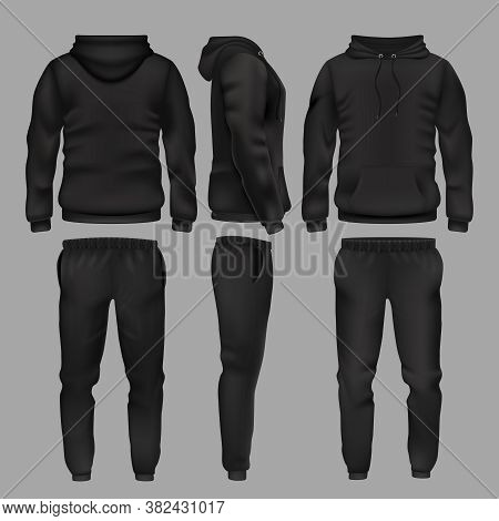Black Man Sportswear Hoodie And Trousers Vector Mockup Isolated. Sportswear With Hoodie, Male Fashio