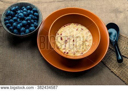 Oatmeal With Different Berries. Healthy Breakfast Steel Cut Oatmeal Porridge With Blueberry Blackber