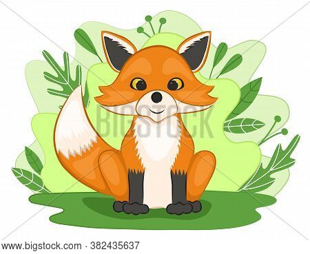 Cute Fox Cub In A Forest Clearing. Background Of Leaves And Plants. Cartoon Style. Vector Illustrati