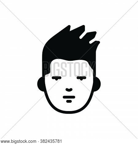 Black Solid Icon For Face Countenance Visage Mask Facade Hipster Sad Avatar Character Hair