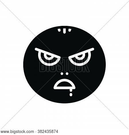Black Solid Icon For Mad Insane Maniac Raving Wild Demented Emoji Character Angry