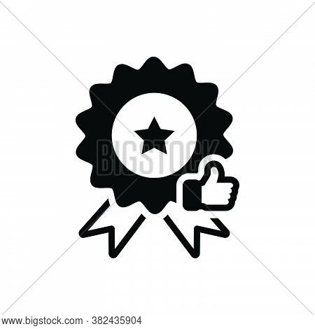 Black Solid Icon For Quality Merits Attribute Virtue Excellence Eminence Certificate Badage