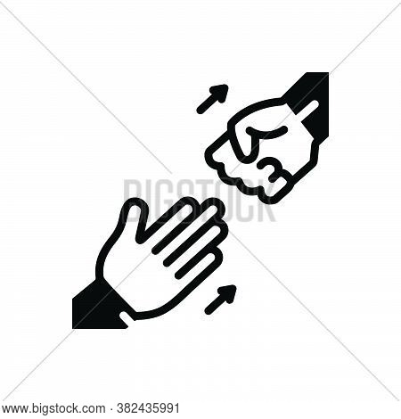Black Solid Icon For Abandon Demit Renounce Repudiate Relinquish Hand Leave Go-away