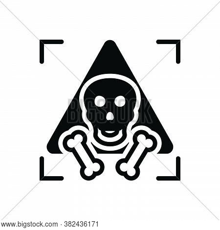 Black Solid Icon For Dangerous Menacing Unsafe Hazardous Perilous Parlous Riskful  Horrible Bone Sku