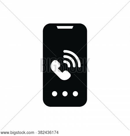Black Solid Icon For Call Phone Mobile Dial Talk Receiver Speak Communication