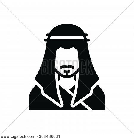 Black Solid Icon For Eastern Sheikh Sheik Orient Eastern Easterner People Man