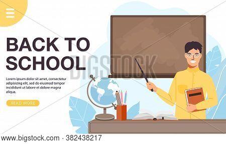 School Time Or Back To School Banner. School Man Teacher Teach At Blackboard In Classroom. Teacher H