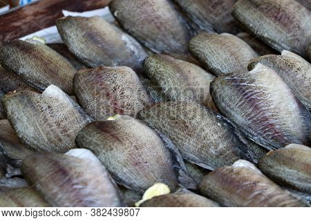 Dried Fish Of Trichogaster Pectoralis Fish, Background Texture Of Dried Fish.