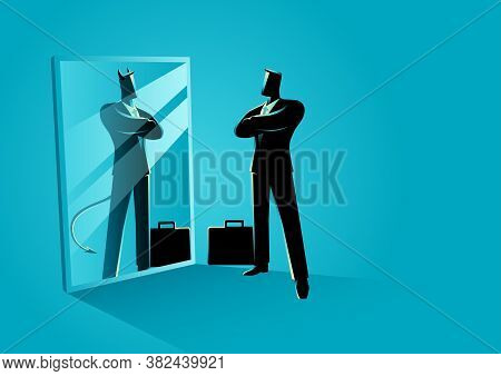 Business Concept Vector Illustration Of A Businessman Standing In Front Of A Mirror, Reflecting A De
