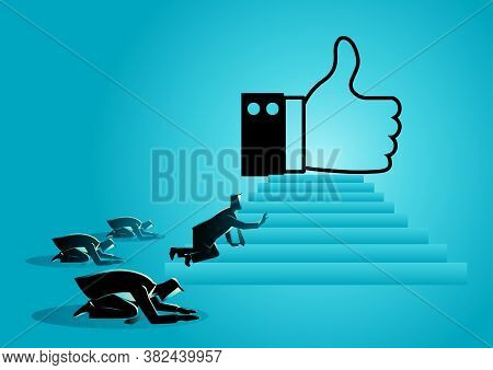 Concept Vector Illustration Of People Worshiping Thumb Up Icon. Social Media Concept, People Obsesse