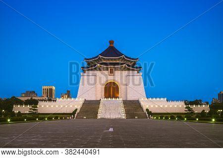Chiang Kai Shek Memorial Hall In Taipei At Night. Translation Of The Chinese Text Is Chiang Kai Shek