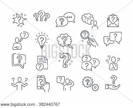 Large Set Of Question, Query Or Confusion Icons With A Variety Of Question Marks For Black And White