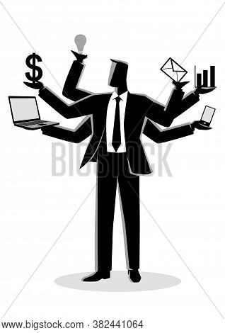 Business Concept Vector Illustration For Multitasking, Black And White Illustration