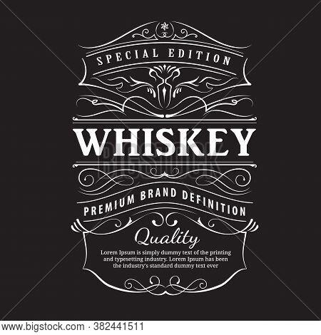 Whiskey Label Vintage Hand Drawn Ornament Typography Blackboard Border Vector