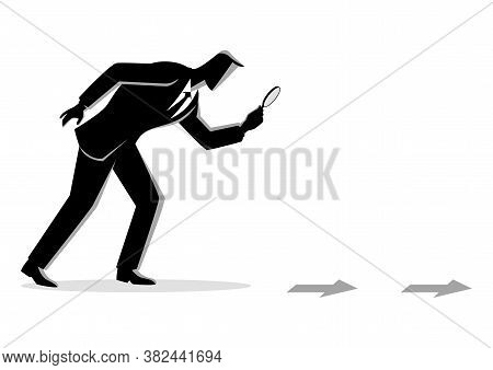 Black And White Business Concept Illustration. Searching, Details, Clue