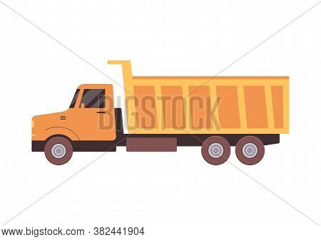 Truck Or Lorry For Road And Quarry Works Icon Flat Vector Illustration Isolated.
