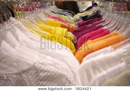 Closeup On Dresses On Hangers