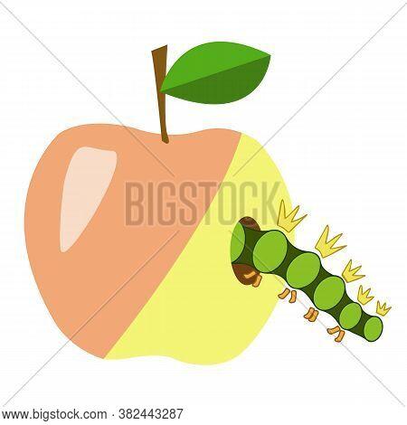 Green Caterpillar Crawls Into A Hole In An Apple