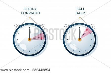 Daylight Saving Time Vector Illustration. Set Of Clocks, Text Fall Back, Spring Forward. The Hand Of