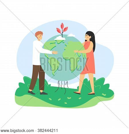 Global Environmental Protection. Man And Woman, Ecologists Holding Globe With Sprouting Plant, Flat
