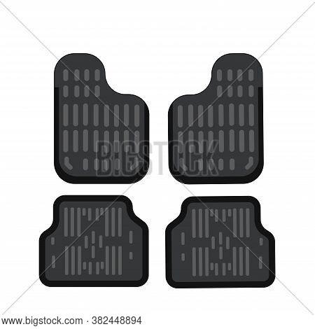 Car Mats. Car Floor Carpet Icon. Flat Vector Illustration. Rubber Car Mats Under Feet.