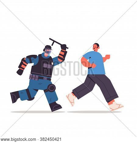 Policeman In Full Tactical Gear Riot Police Officer Attacking Street Protester In Medical Mask Durin