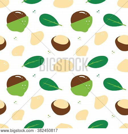 Macadamia Nuts And Green Leaves Vector Seamless Pattern Background.