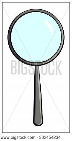 Vector Magnifying Glass Flat Icon. Vector Flat Illustration Of Magnifier For Web Design, Logo, Icon,