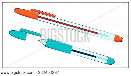 Vector Set Of Pens Icon. Vector Flat Illustration With Office Red And Blue Pens For Writing For Web,