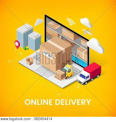Online Delivery Service Isometric Banner Concept With Storage In Laptop, Parcel Box, Truck, Building