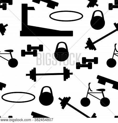 Vector Seamless Pattern Sports, Gym Equipment On White Background. Banner For Gym. Black And White