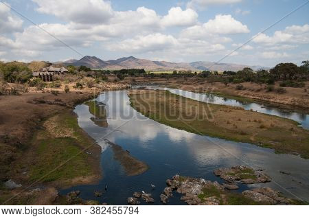 Malelane, Kruger National Park, South Africa, August 22, 2020: View From Malelane Bridge At The Entr